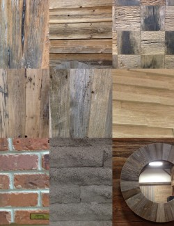 A selection of rustic finishes being considered & used for the project.
